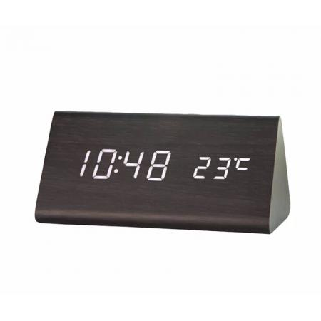 Digital LED Wooden Desk Alarm Clock